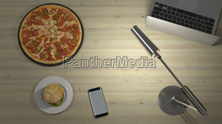 pizza and hamburger on a desk