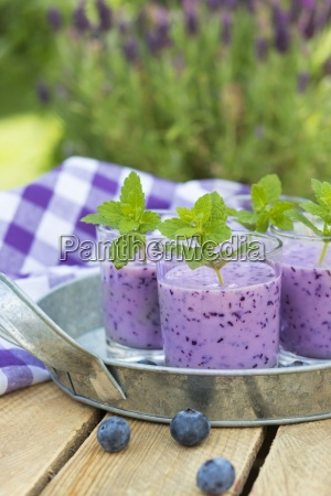 glasses of blueberry smoothie with buttermilk