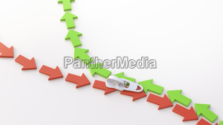 3d illustration zipper arrows up and