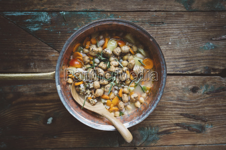 mediterranean soup in copper pot