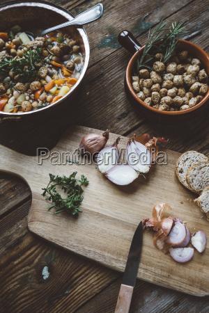 mediterranean soup in copper pot bowl