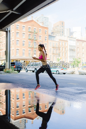 woman training in the morning in