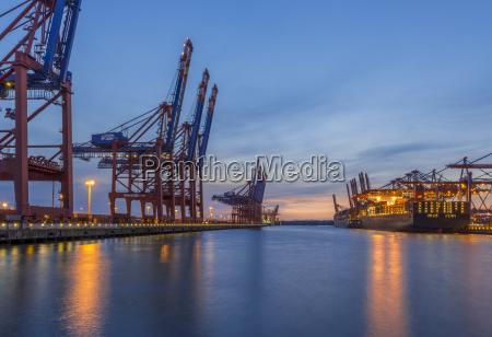 germany hamburg waltershof container harbour in