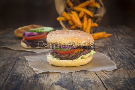 homemade burger with sweet potato fries