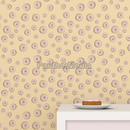 platte mit donut auf tasse board