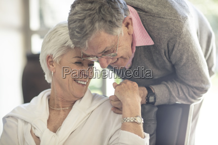 happy affectionate senior couple together at