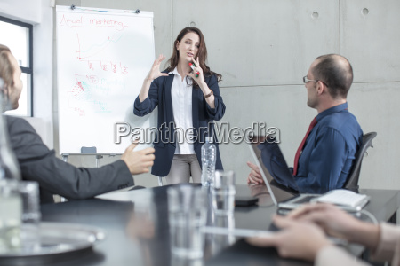 businesswoman leading a presentation on a