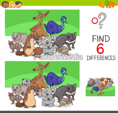 find differences with funny animal characters
