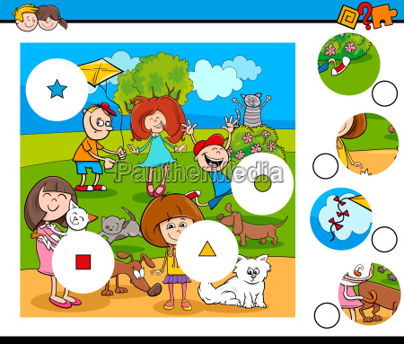 match pieces puzzle with children and