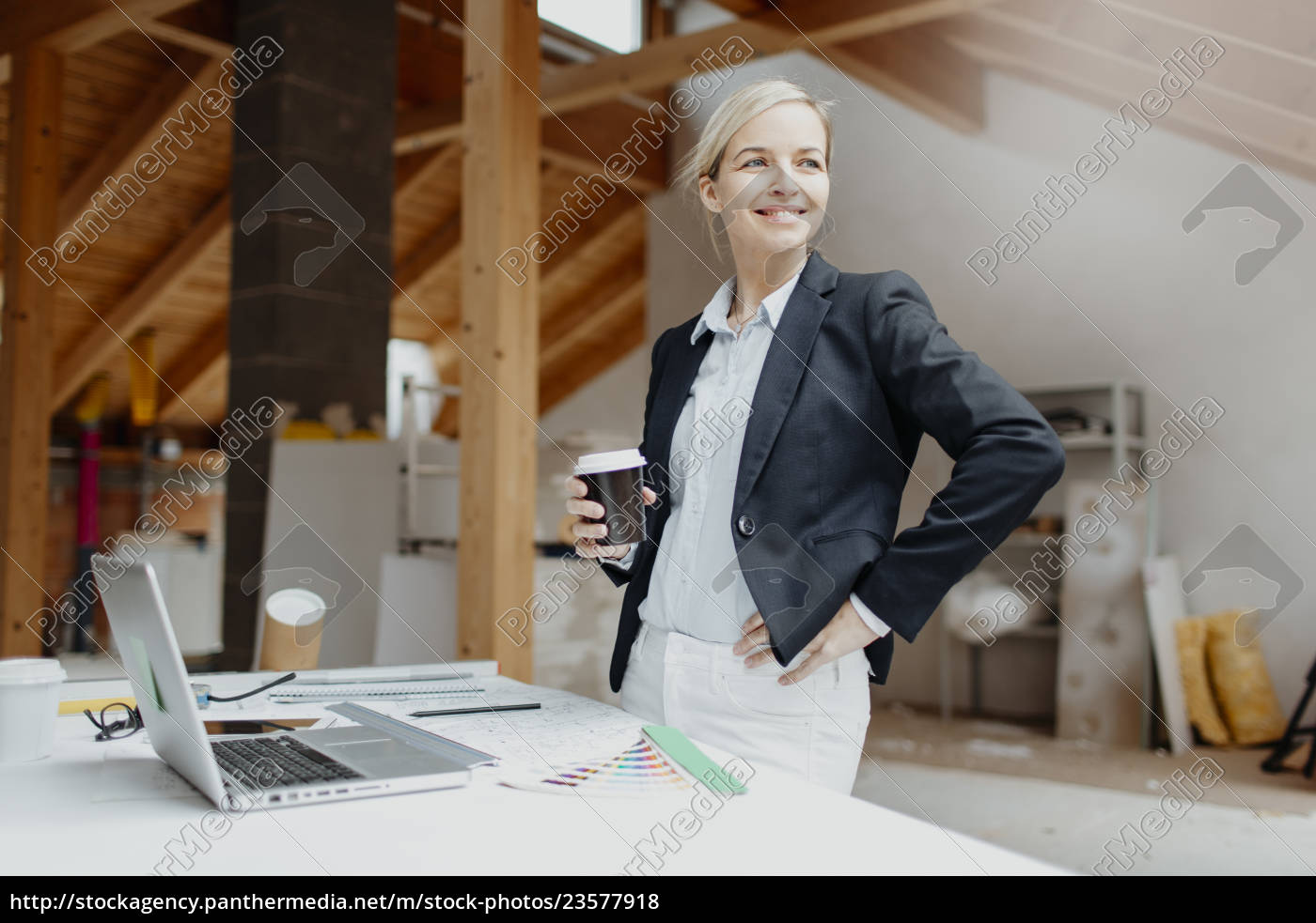 young, , pretty, , blonde, architect, is, planning - 23577918