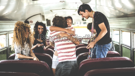 a group of young people in