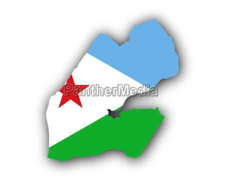 karte und fahne von dschibuti