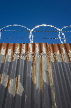 low angle view of worn corrugated