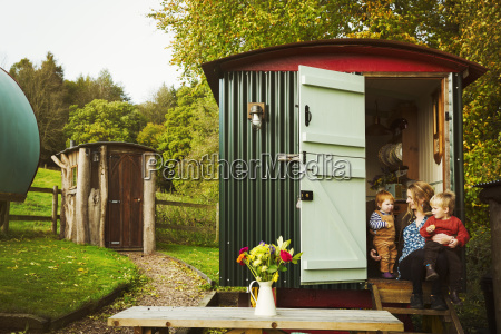 a shepherds hut with open door