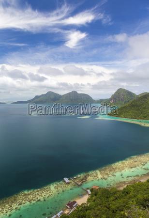 high angle view along coastline of