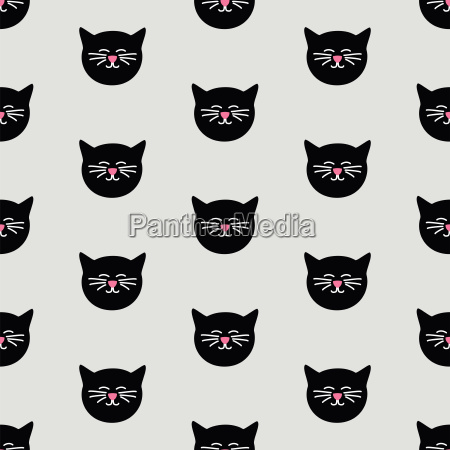 tile vector pattern with black cats