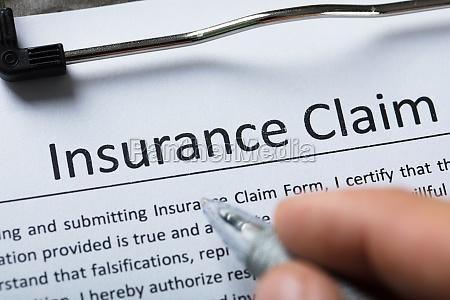 high angle view of insurance claim