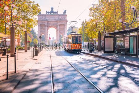 famous vintage tram in milan lombardia