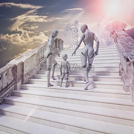 roboterfamilie auf treppe zum himmel