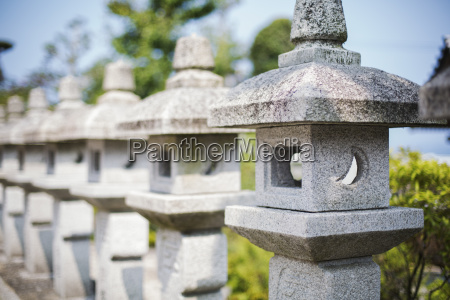 close op of sculptural stone pillars