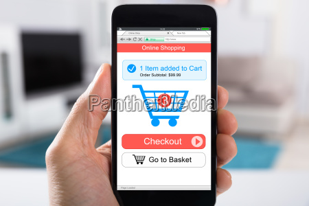 person shopping online using smartphone