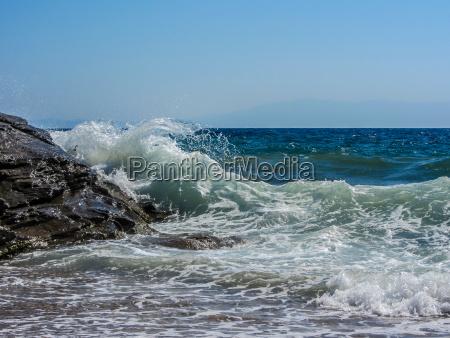 deep blue sea and high waves