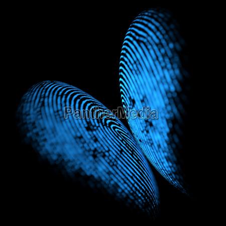 holographic fingerprint butterfly shape