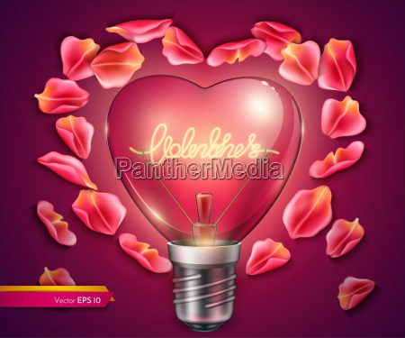 light bulb heart shaped vector realistic
