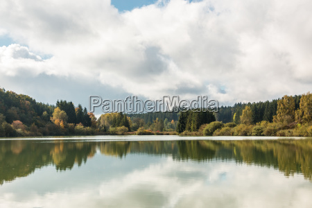 lonely lake with reflections in the