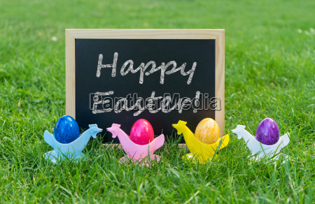 eastercard with chalkboard and colorful easter