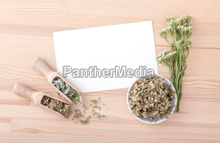 top view of white card with