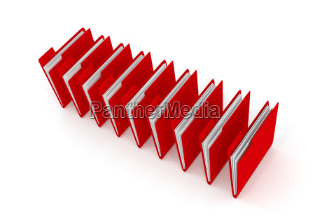 red folder on white 3d rendering