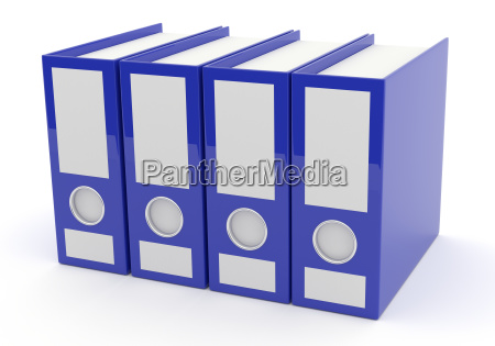 blue folder on white 3d rendering