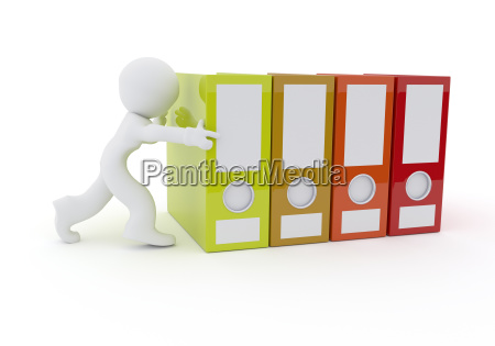 character with folder on white 3d