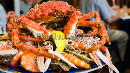 crab on seafood plate in local