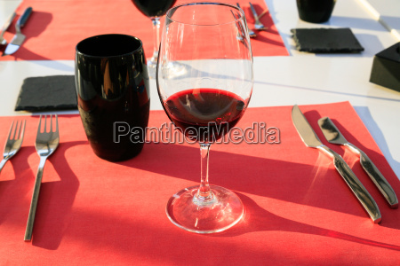 wineglass with local red wine from