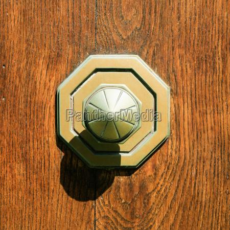 old brass door knob at outdoor