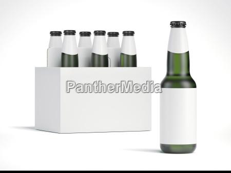 leere bierflaschen und weisse verpackung 3d