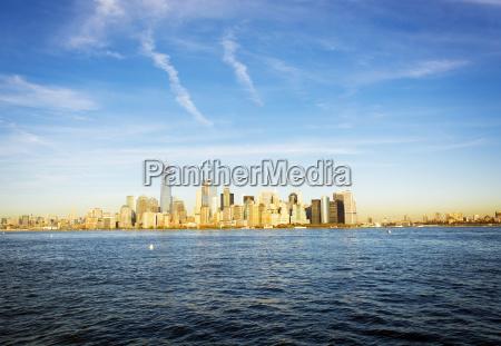 new york skyline in a bright