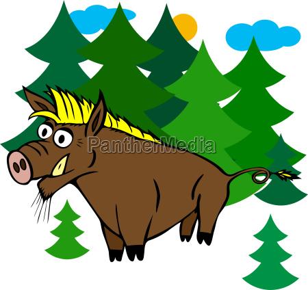 karikatur braunes wildschwein mit gelbem knall