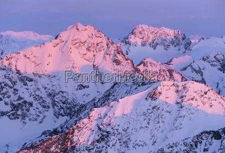 alpenglow auf adlerspitzen chugach bergen alaska