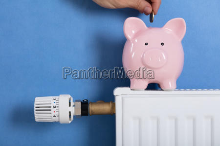 person man inserting coin in piggy