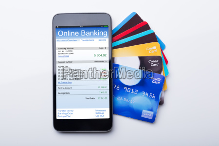 handy mit online banking app und
