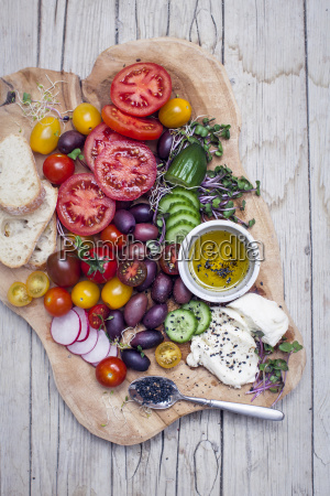 colorful healthy vegetarian antipasti snack with