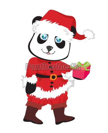 niedlichen pandabaer in rotem weihnachtsmann kostuem