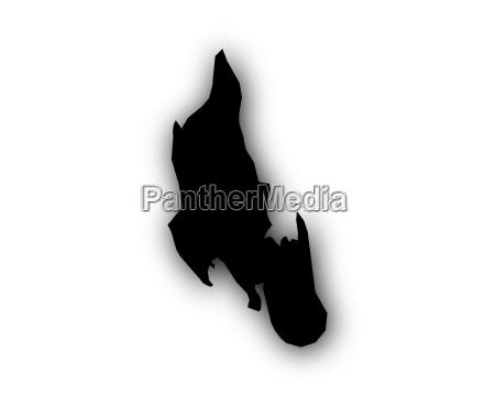 karte von sansibar mit schatten