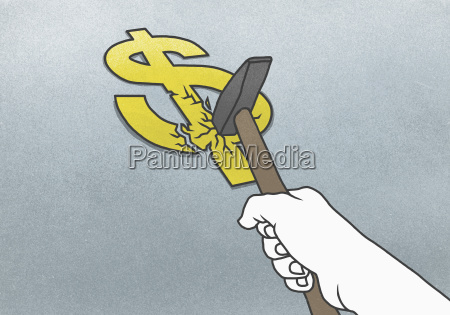 cropped hand breaking dollar sign with