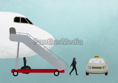 illustration of businesswoman walking from airplane