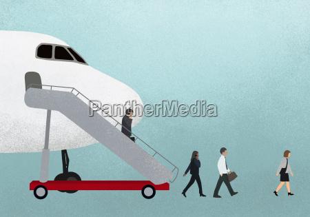 illustration of business people walking mobile