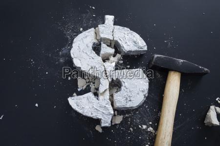 high angle view of broken concrete